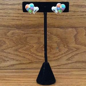 Murano Millefiori double heart silver earrings.